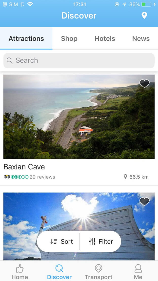 Travel Taitung APP Screenshots-Attractions
