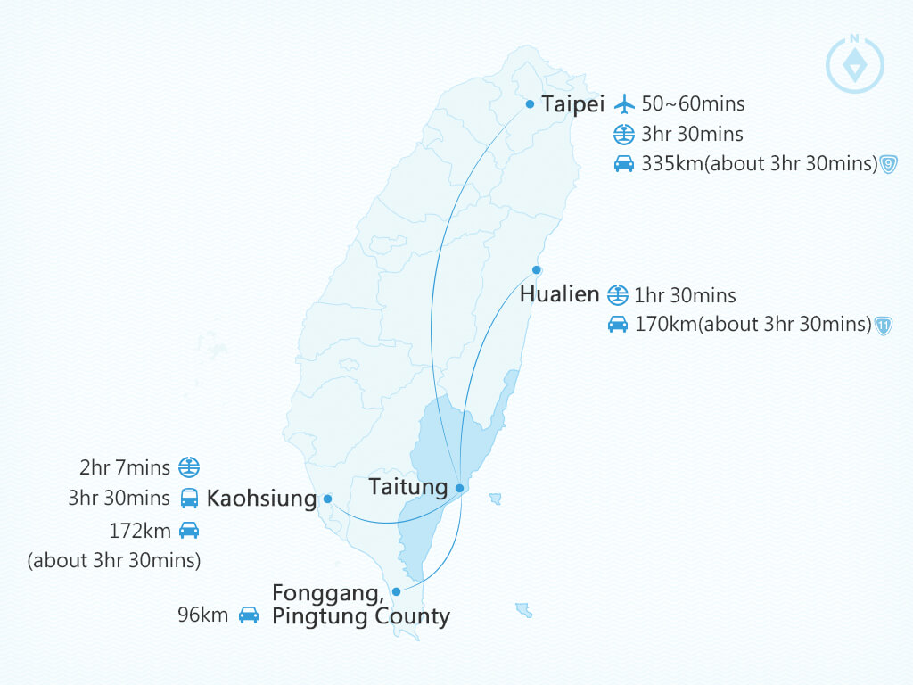 Map to Taitung