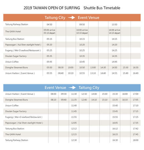 Taiwan Open of Surfing Shuttle Bus Timetable